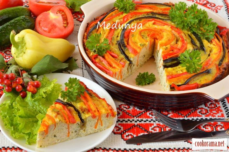 Овочева запіканка з рисом і курятиною «Літня квітка»