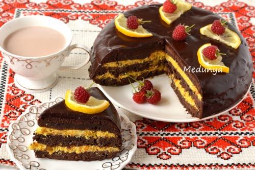 """Шоколадно-апельсиновий торт """"Ароматична бомба"""""""