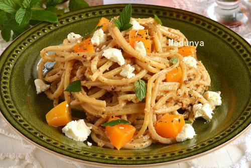 Spaghetti in a creamy-nut sauce with roasted pumpkin and feta