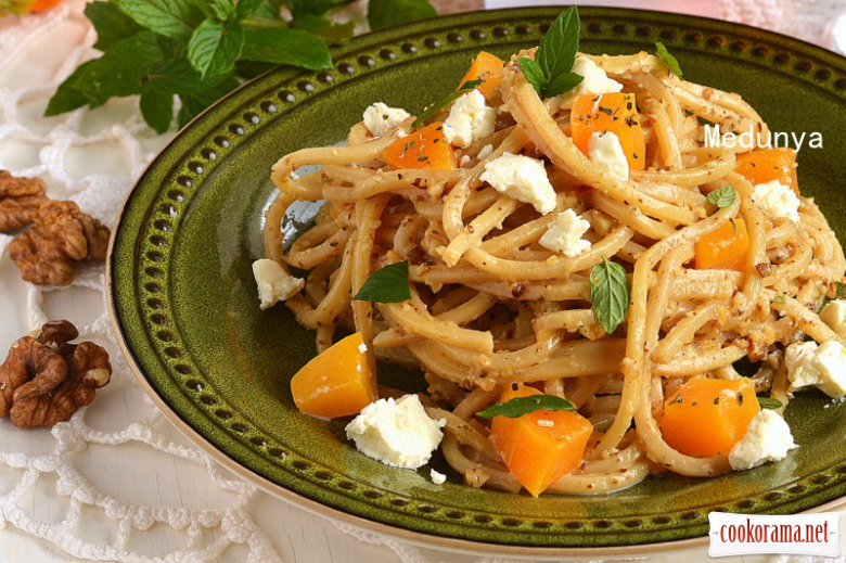 Spaghetti in a creamy-nut sauce with roasted pumpkin and feta