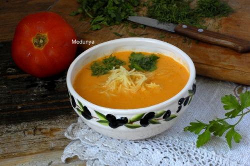 Помидорный суп с макаронами (быстрый вариант)