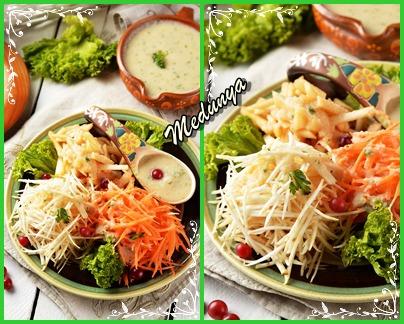 Салат із сирих овочів з йогуртово-яблучною заправкою