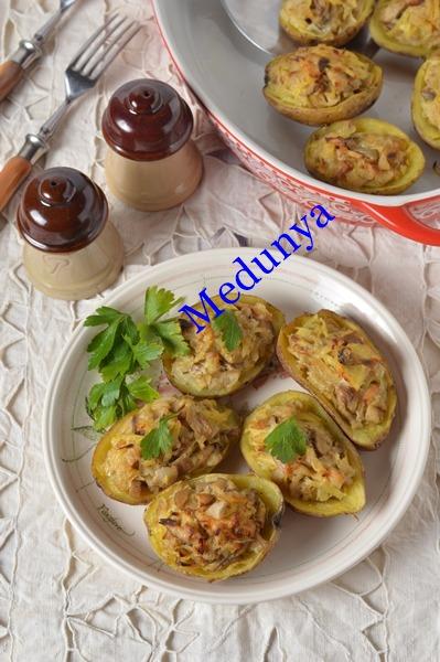 Картопляні кораблики з білими грибами