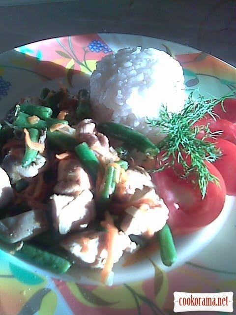 Куриное филе со спаржевой фасолью и грибами