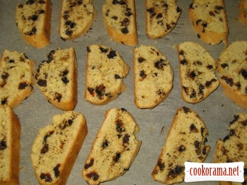 Biscotti with dried cherries and chocolate crumbs