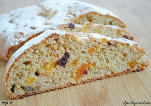 Stollen from cottage cheese, orange, nuts and dried fruits