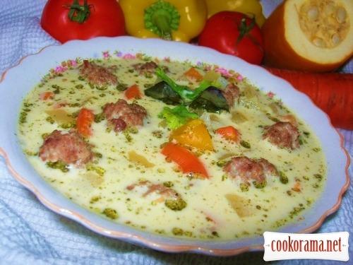 Сирний суп з фрикадельок