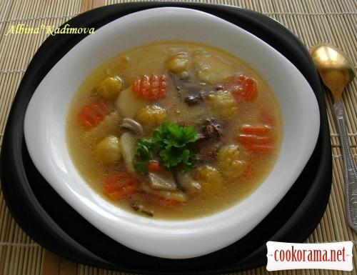 Суп грибний з брюссельською капустою