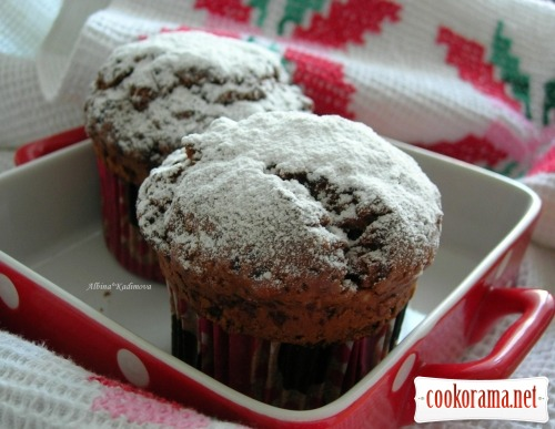Chocolate muffins stuffed with Adygeyan cheese