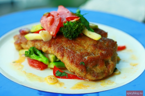 Schnitzel with vegetables saute