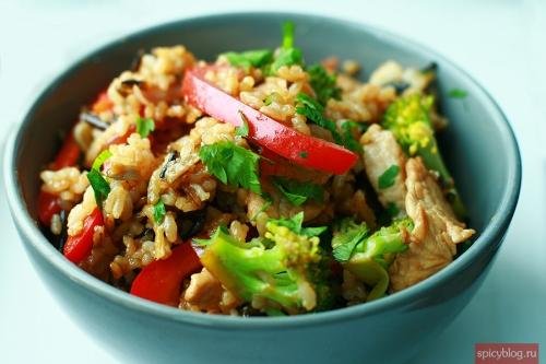 Turkey stir fry with wild rice