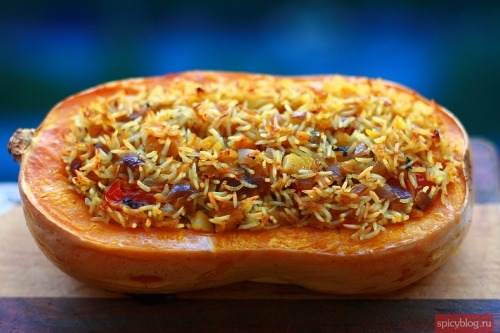 Pumpkin stuffed with rice