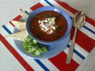 Gazpacho with salad