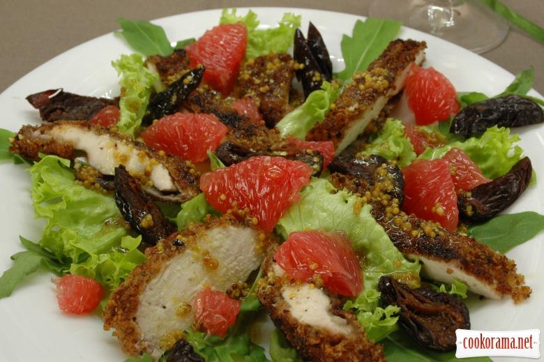 Салат с куриным филе и грейпфрутом