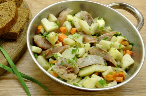 Salad with herring and carrots
