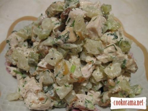Салат з куркою і білими грибами