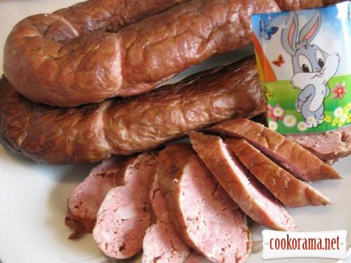 Колбаса домашняя копченая