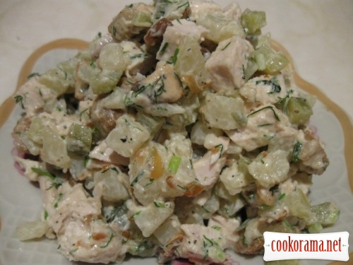 Salad from chicken and white mushrooms