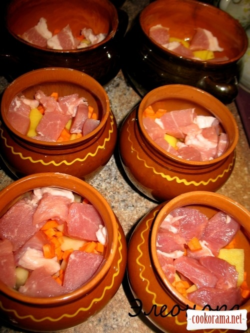 Pots with pork meat