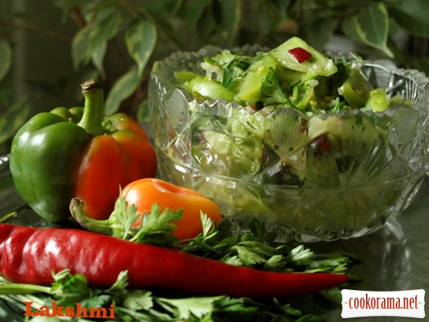 Spicy salad-appetizer from green tomatoes