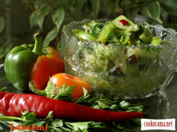 Гострий салат-закуска із зелених помідорів