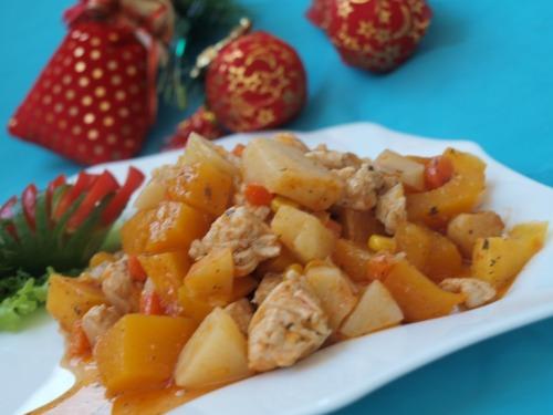 Рагу из тыквы и куриного филе