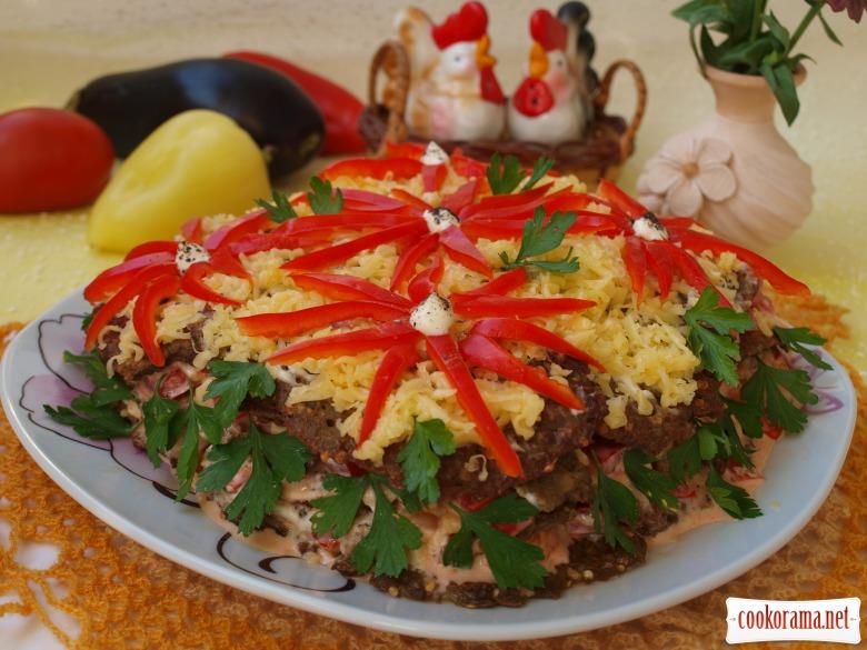 Торт закусочный из баклажановых драников