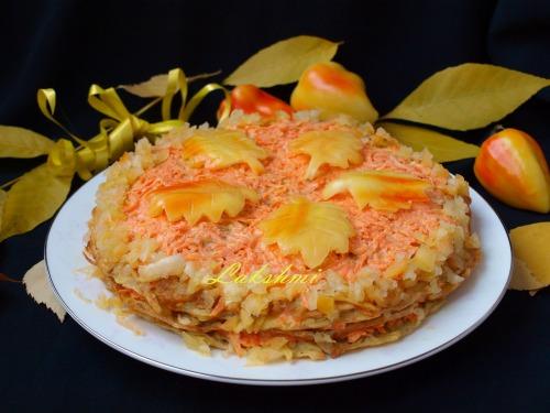 Закусочный картофельный торт с морковно-сырной прослойкой