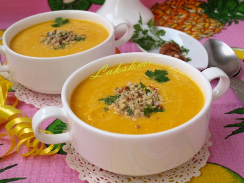 Carrot and pineapple puree soup with curry