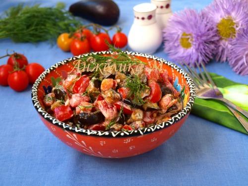 Тёплый салат с баклажанами