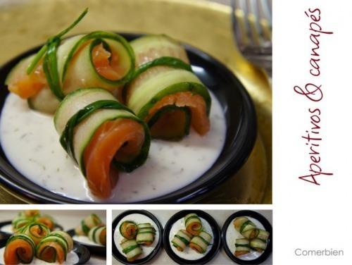 Рулетики из копченного лосося с соусом тар-тар