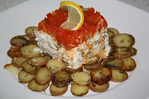 Тріска з картоплею під шапкою з солодкого перцю (Bacalao con patata y pimiento rojo)