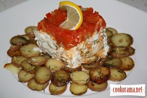 Треска с картофелем под шапкой из сладкого перца (Bacalao con patata y pimiento rojo)