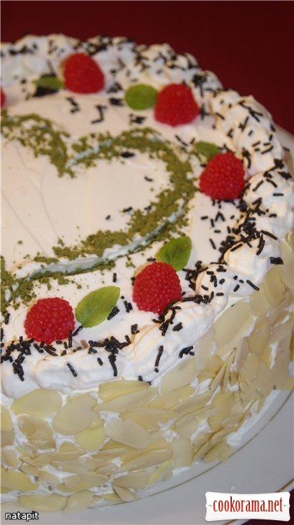 Торт «Чай со сливками и малиной»