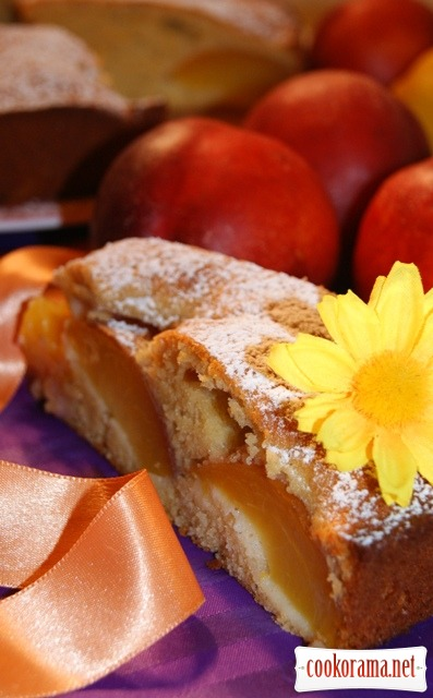 Honey cake with nectarines.