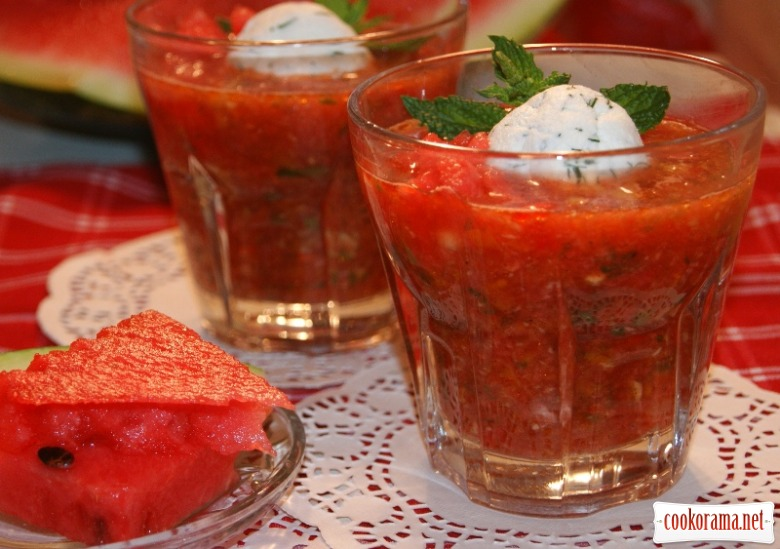 Watermelon gazpacho.