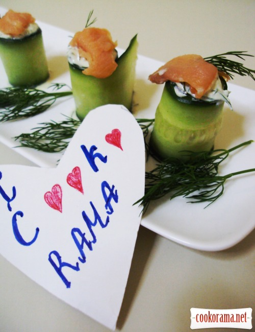 Rolls from cucumbers with dip «Avocado» and smoked salmon
