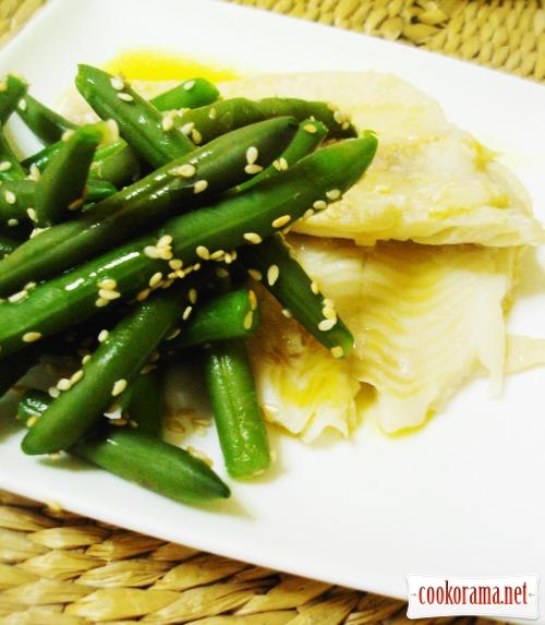 Морской язык с зеленой фасолью