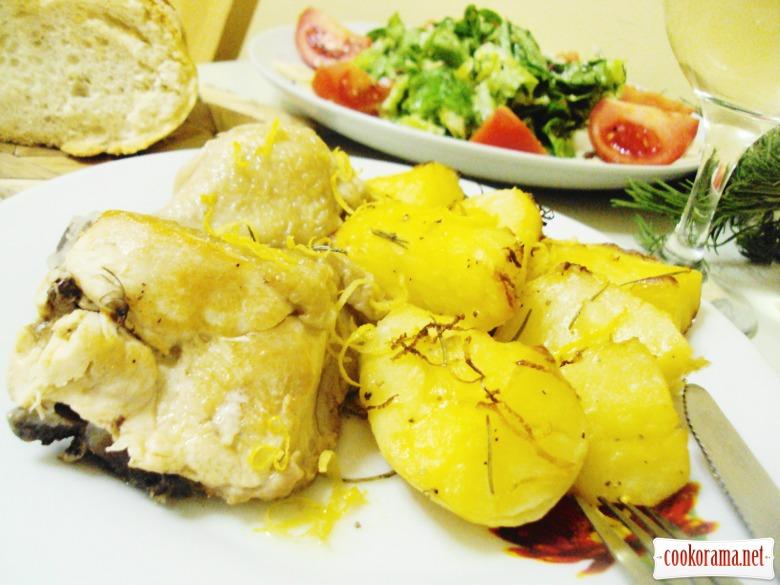 Курица с розмарином и лимоном