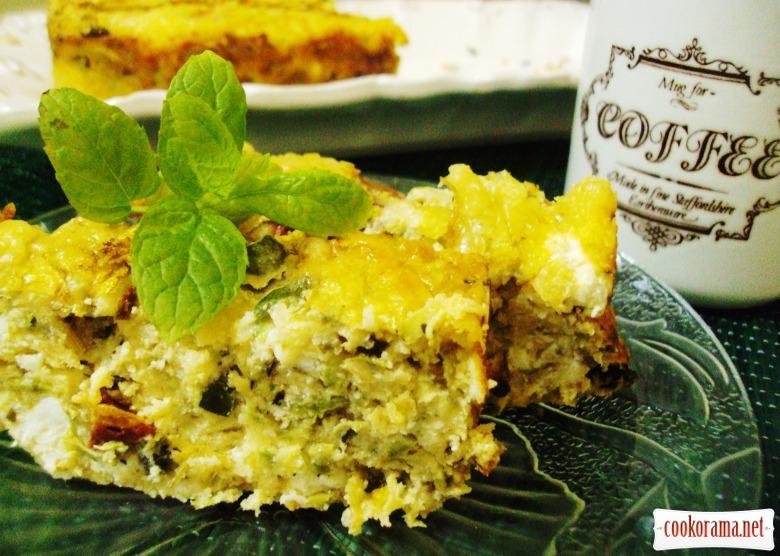 Кекс-запеканка с сыром и кабачками