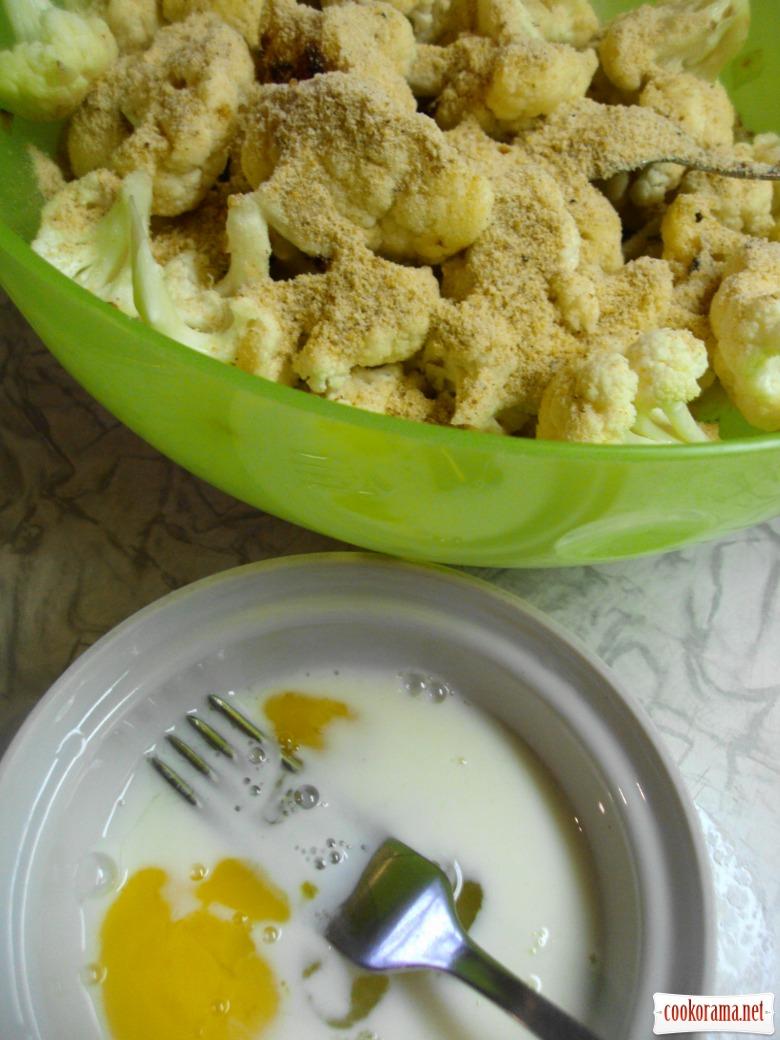 Цветная капустаы с молоком и яйцом