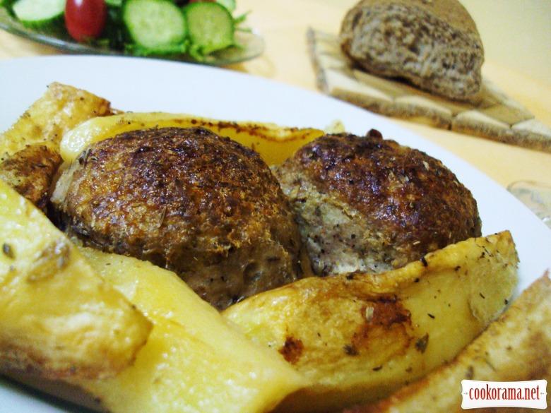 Бифтекья (котлеты) с картофелем в духовке