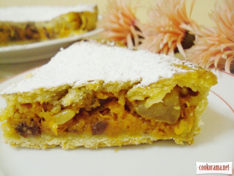 Пирог с тыквенно-яблочной начинкой