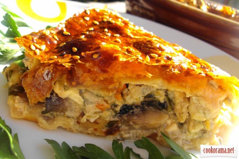 Пирог с курицей и грибами, или ленивый курник