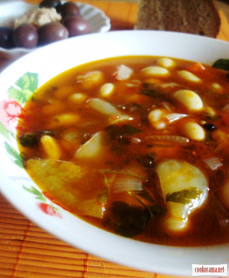 Летнее овощное рагу с фасолью