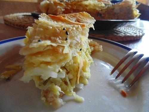 Пирог из кабачков с лавашем