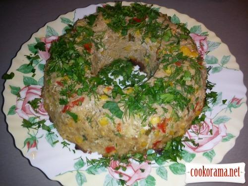 Мясное кольцо с овощами