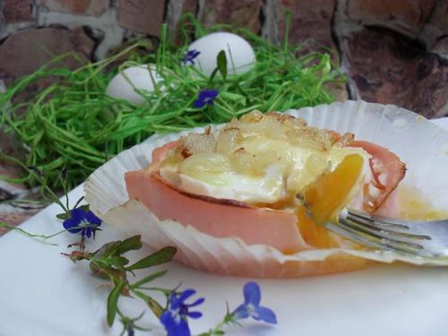 Корзиночки из ветчины с цветной капустой и яйцом