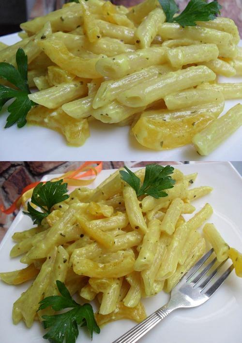Рожки с соусом из козьего сыра и перца