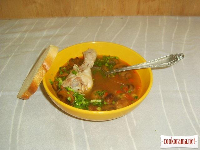 Суп с шампиньонами и фарфель